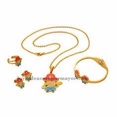 juego de joyas de dibujos animados amarillo con collar ,aretes,pulsera y anillo color dorado en acero inoxidable-SSNEG051273