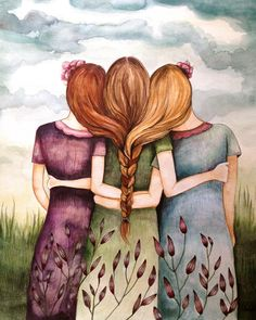 three sisters best friends art print...if M is brunette Br is blonde I guess Be is ginger? Next hair appt? b