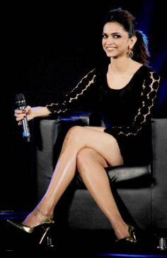 Deepika Padukone shows of the shapely legs in black LBD, at a Van Heusen event. #Style #Bollywood #Fashion #Beauty