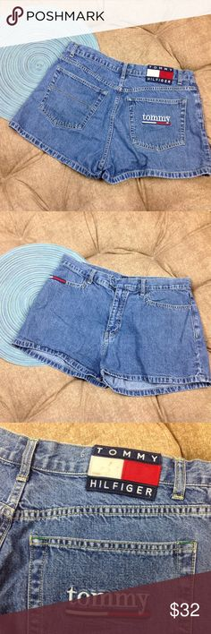 Vtg Tommy Hilfiger Jean Shorts Womens 13 Juniors There are some marks on the white part of the patch; Otherwise good condition;  Vtg Tommy Hilfiger Jean Shorts Womens 13 Juniors Big Patch Embroidered Pocket; Classic High Waist; 100% Cotton; 16.5 inch across waist; 11 inch rise; 2 inch inseam  A02-14 Tommy Hilfiger Shorts Jean Shorts