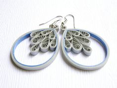 Blue Gray Earrings / Lightweight Statement by SimplyQuilledDesigns, $28.00