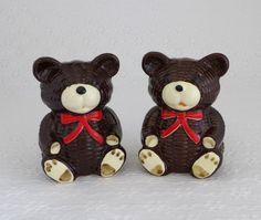 Teddy Bear Shakers Vintage Salt and Pepper by RaindropVintageShop