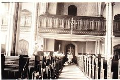 The gallery at St Luke's Church at the base of the tower in about 1931 Liverpool History, Liverpool Home, Liverpool Cathedral, Place Of Worship, Old Photos, Poem, Lantern, Roots, Saints