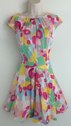 BODEN Multi Color Floral Knee Length 100% Cotton Dress UK 14R US 10R #Boden #TeaDress #Casual