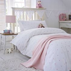 pink stars organic cotton bedding by the fine cotton company   notonthehighstreet.com