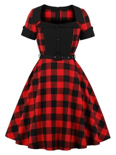 Vintage Tartan Belted Pin Up Dress Plus Size Skater Dress 932328a7c164