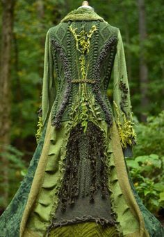 Your platform for buying and selling handmade items - Reserved Sweater COAT patchwork bohemian fantasy green corset - Mode Hippie, Mode Boho, Look Fashion, Fashion Outfits, Womens Fashion, Ropa Shabby Chic, Sweater Coats, Refashion, Costume Design