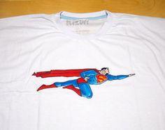 Camiseta Pintada à Mão Superman