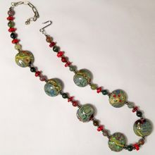 SOLD! Vintage Abstract Art Glass Bead and Stone Necklace