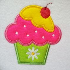 Cute Cupcake Applique | astitchahalf machine embroidery | Machine Embroidery…