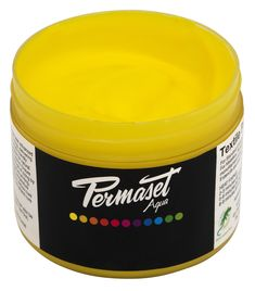 Pictured here is the Permaset Aqua Mid Yellow in a 100 mL size.  Permaset Aqua's Standard Colour Range is a 100% solvent free environmentally friendly formula that provides intense pigments rich in coverage with exceptional colour yield. The resilient resin base is at once both soft and incredibly strong – holding up beautifully to even the most severe rub and wash tests.  Permaset Aqua Standard Colour is ideal for printing on:  Light Toned Fabrics and Natural and Synthetic Materials