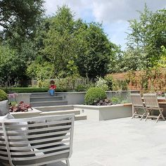 Summer Orchard Garden in Dulwich with canopies of the fruit trees and flowers designed by Sarah Hammond Formal Garden Design, Flower Garden Design, Home Garden Design, Back Gardens, Small Gardens, Outdoor Gardens, Garden Paving, Sunken Garden, Small City Garden