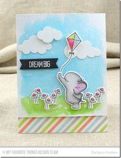 Adorable Elephants, Plaid Background Builder, Adorable Elephants Die-namics, Puffy Clouds Die-namics, Tag Builder Blueprints 5 Die-namics - Barbara Anders  #mftstamps