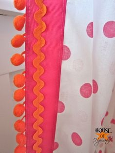 """Can't wait to add pom-pom trim to the inexpensive """"tablecloths"""" I purchases to make some really cute curtains for the nursery!"""