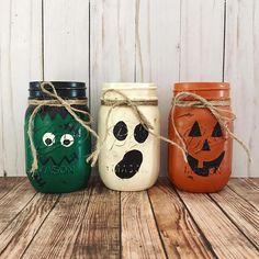 Halloween Mason Jars halloween centerpiece Frankenstein
