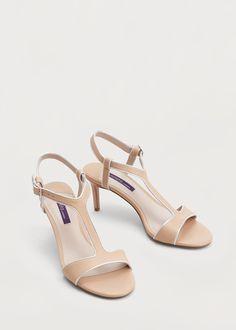 Leather t-bar sandals | MANGO