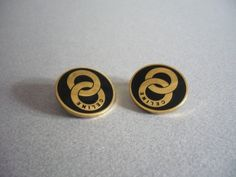 CELINE Authentic Vintage Gold Plated Earrings by xDIVINEx on Etsy
