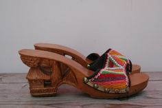 Vintage 1940s Beaded Tiki Platforms Size 6 1/2 // Carved Wood Tiki Shoes. $48.00, via Etsy.