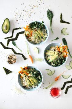KALE & CARAMEL — Sushi Bowl with Sesame Ume Cucumber Salad & Shichimi Togarashi Dressing.
