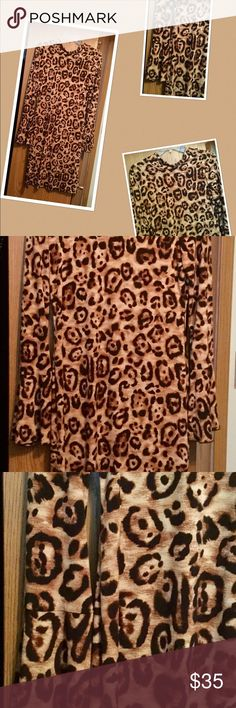 Leopard sweater dress 👗 If you shop my closet , you know I love leopard 😜just a simple basic dress with bell sleeves...looks awesome with red shoes! INC International Concepts Dresses