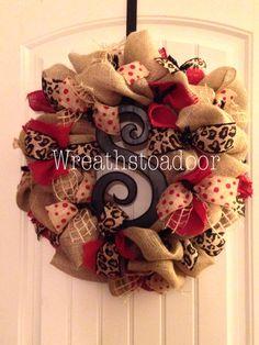 Burlap wreath www.facebook.com/wreathstoadoor