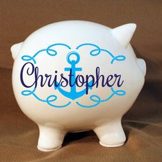 "5.5"" Personalized Piggy Bank Nautical Design with Vinyl Decal, Custom Piggy Bank, Anchor Ocean Decor, Kids Room, Baby Gift, Baptism"