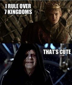 Star Wars VS Game of Thrones Sith Lord and Joffery Baratheon. House Lannister