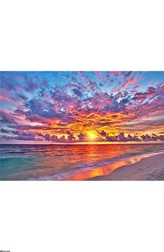 Sunset over ocean Wall Mural Easy Canvas Art, Small Canvas Art, Seascape Paintings, Landscape Paintings, Ocean Mural, Sunset Wallpaper, Large Painting, Surreal Photos, Wall Murals