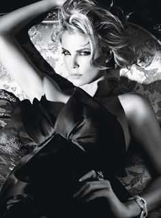 Charlize Theron in Marchesa photographed by Mario Sorrenti for W magazine, February 2012.