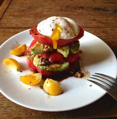 Tomato and Avocado Stack Breakfast Salad