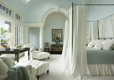 I want this room! That blue is so calming and I adore the woodwork design.   http://www.jackyelanham.com/images/residential-interiors.jpg