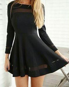Black long sleeve dress so cute