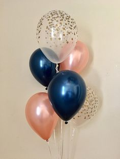 Navy Rose Gold and Gold Confetti Latex Balloon~Wedding~Bridal Shower~Birthday Party~Baby Shower~Navy&Gold~Rose Gold Balloon~Bachelorette
