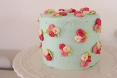 Pastel blue rose cake for my baby shower. Miranda Jane cakes.