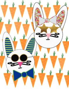 Hipster Bunny Rabbit Easter Printables via Mandy's Party PRintables