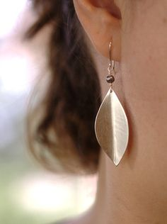 Brushed Sterling Silver Leaf Earrings with by JulieKujawa on Etsy