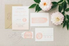 Watercolor Invitation   Blue and Peach Wedding Inspiration