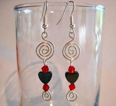 Pierced Heart Spiral Earrings Hematite by ArianrhodWolfchild, $10.00
