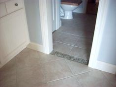 Buddy Bath Tile inset in doorway.  Dresses up the upstairs bath.