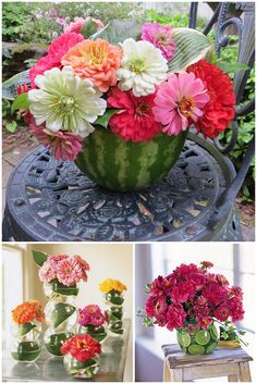 watermelon vase. love it! Great for an outdoor summer centerpiece!