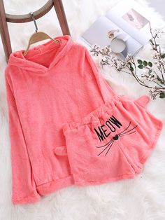 ZHI Two Piece Set Cat Pattern Autumn Winter Hoodies Shorts Suits is fashion, see more co ord outfits and short suits women online. Cute Pajama Sets, Cute Pjs, Cute Pajamas, Cute Outfits For Kids, Cute Casual Outfits, Stylish Outfits, Girls Fashion Clothes, Teen Fashion Outfits, Girl Outfits