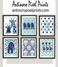 Polka Dot Elephant Giraffe Navy Aqua Vintage / Modern Inspired Baby Nursery Prints Collection -Set of 6 - 8x10 Prints -Baby Blue Grey White (UNFRAMED) — Antinoro Pixel Prints