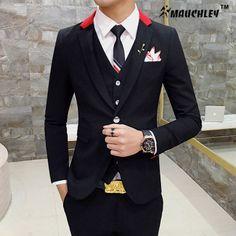 Mens Suits Slim Fit 3 Piece Wedding Prom Suits (Jacket+Vest+Pants) 2017 Fashion Modern Latest Coat Pants Design Patchwork Tuxedo