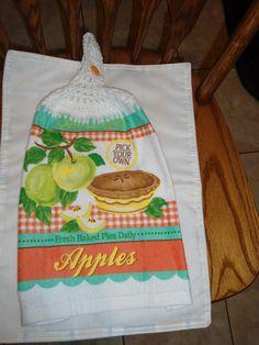 Apple Pie Crochet Top Kitchen Towel by kayandgirlscrafts on Etsy, $3.00