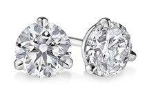 Round Three-Prong Martini Diamond Stud Earrings