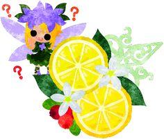 可愛い妖精とレモンのオブジェのイラスト