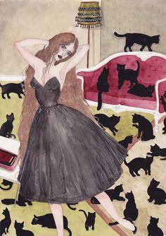 """Self portrait as crazy cat lady"" by  Caitlin Shearer via ModCloth"