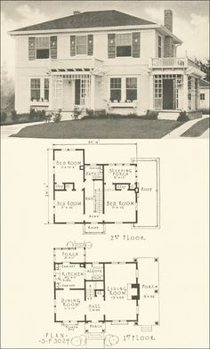 3029 - Southern Pine Association - Two-story Colonial Revival Colonial House Plans, French Country House Plans, Vintage House Plans, Craftsman House Plans, House Floor Plans, Center Hall Colonial, Vintage Architecture, House Blueprints, House Layouts