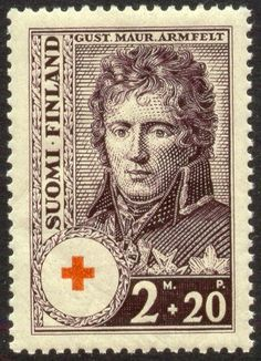 Postage stamp depicting the Finnish diplomat and general Gustav Mauri Armfelt