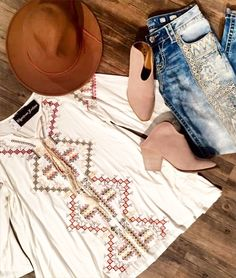 #OOTD today's new arrivals bring together our favorite combination of tan #neutrals and #trendy patterns! #tuesdayvibes #bohochic #springfashion #shopmbav   Cross stitch patterned cream embroidered top S-L $56  Miss Me embroidered distressed skinny denim 25-31 $109.50  Sand suede open back mule with heal 6-10 $89